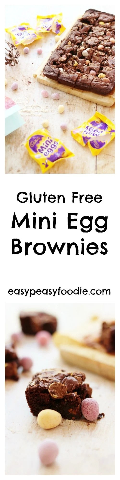 A really easy recipe for gluten free Mini Egg Brownies that are deliciously fudgy and chewy on the inside and crunchy on the outside, stuffed full of little mini eggs, making them perfect for Easter! #minieggs #brownies #minieggbrownies #easter #easter2018 #glutenfree #glutenfreebrownies #glutenfreebaking #easybaking #easypeasyfoodie #freefromfairyflour