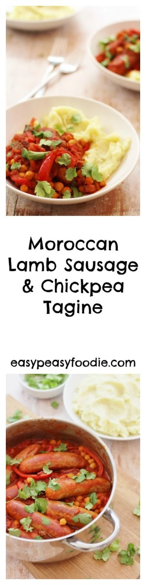 A quick and easy stew full of North African flavours, this delicious Moroccan Lamb Sausage and Chickpea Tagine is made with lamb sausages, cutting down the cooking time dramatically and making this a great way to enjoy a tagine on a busy weeknight.