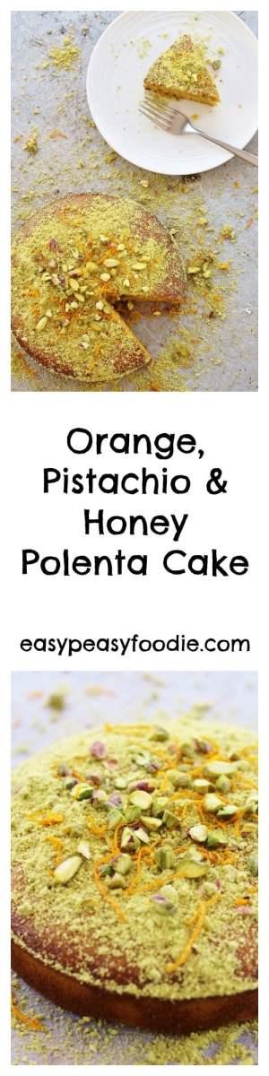 Orange, Pistachio and Honey Polenta Cake