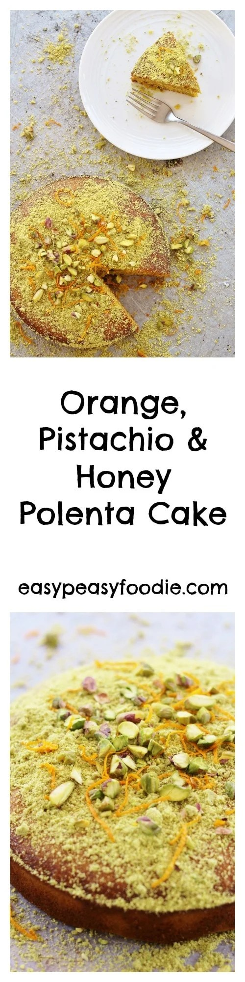 Bursting with the delicious flavours of the Mediterranean, this Orange, Pistachio and Honey Polenta Cake, is naturally gluten free, dairy free AND refined sugar free. It's also very easy to make and, of course, totally delicious! Perfect for #MothersDay or #Easter! #orange #pistachio #honey #polenta #polentacake #glutenfree #refinedsugarfree #dairyfree #motheringsunday #eastercake #easterbaking #easybaking #easypeasyfoodie