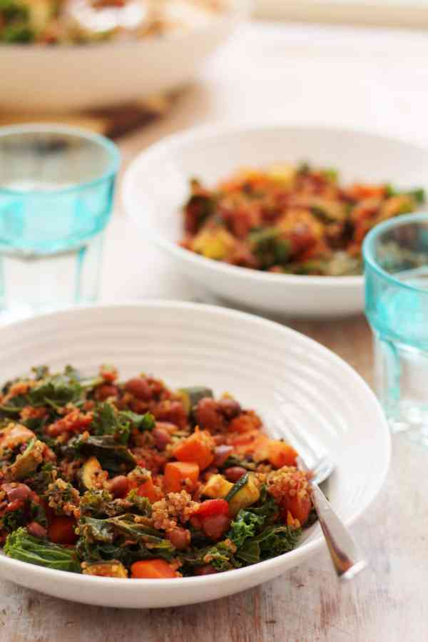 Quinoa Kale and Borlotti Bean Stew