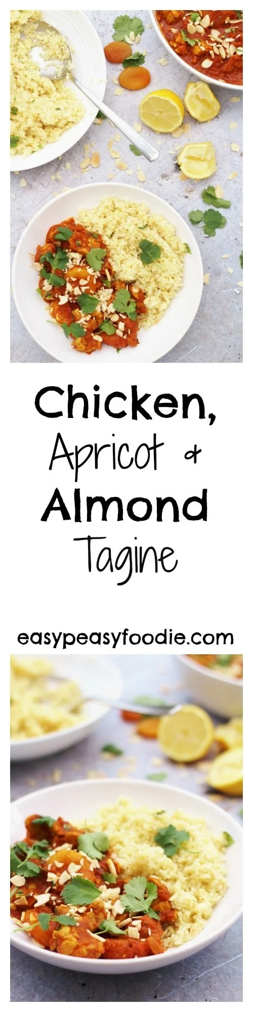 Quick, simple, healthy and tasty – these are some of my favourite words when it comes to food and this deliciously easy Chicken, Apricot and Almond Tagine ticks all those boxes and more! #tagine #chicken #chickentagine #apricots #almonds #couscous #lemon #easydinners #healthydinners #familydinners #midweekmeals #easypeasyfoodie