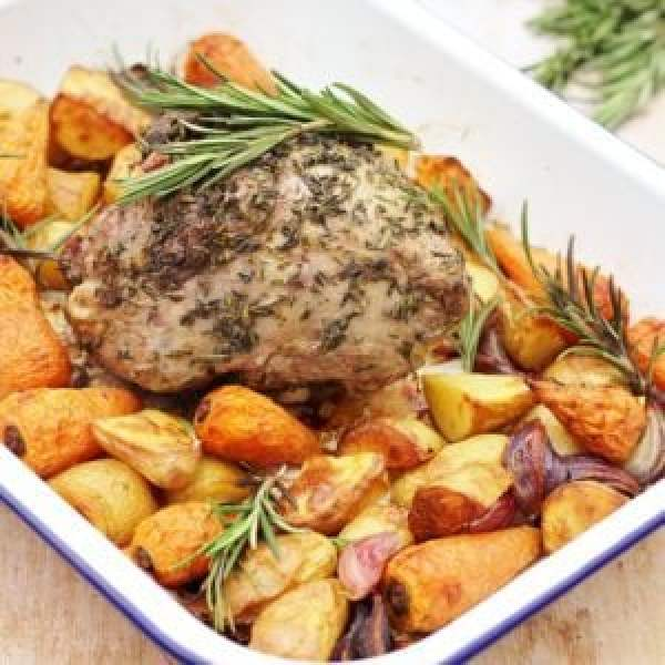 Herb Crusted Lamb Mini Roast Traybake