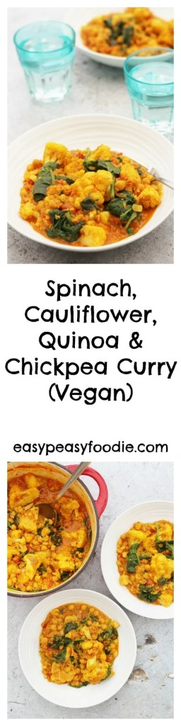A delicious, easy and quick meal, this one pot vegan Spinach, Cauliflower, Quinoa and Chickpea Curry is perfect for when time is tight but you still want to eat healthily.
