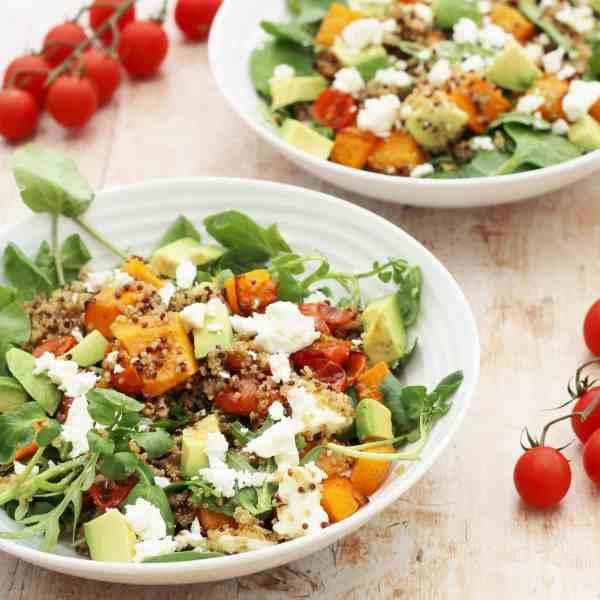 Squash, Quinoa, Avocado and Feta Salad