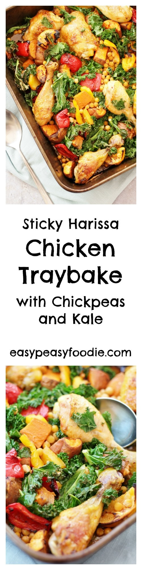 This Sticky Harissa Chicken Traybake, is simple, quick and delicious - perfect for busy weeknights. It's also healthy, gluten free and dairy free! #chicken #stickychicken #harissa #harissachicken #chickentraybake #traybake #onepan #easydinners #glutenfree #dairyfree #midweekmeals #familydinners #easypeasyfoodie