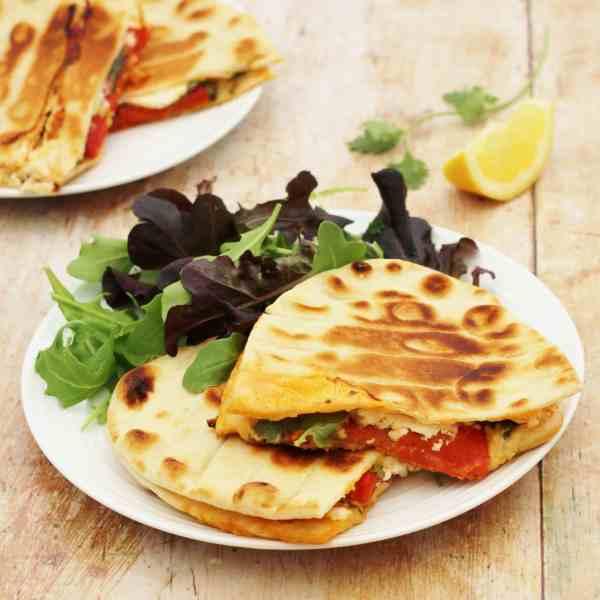 Feta, Roasted Pepper and Harissa Toasted Flatbreads