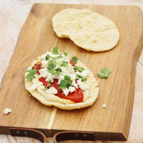 Feta, Roasted Pepper and Harissa Toasted Flatbreads