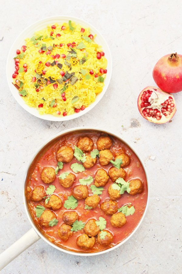 Persian Jewelled Rice and Spicy Lamb Meatballs