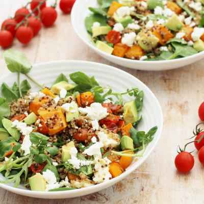 Roasted Squash, Quinoa, Avocado and Feta Salad