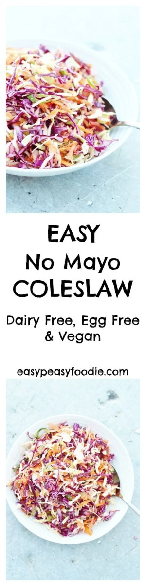 A lighter, fresher coleslaw…that tastes much better than the kind that's dripping with cream and mayonnaise AND is easy peasy to make, my Easy No Mayo Coleslaw is perfect for picnics, BBQs and potlucks…and even amazing on top of a baked potato! Plus this version is dairy free and egg free and vegan, so can be enjoyed by almost everyone :-D #DairyFree #EggFree #Vegan #NoMayo #Coleslaw #FreeFromBBQ