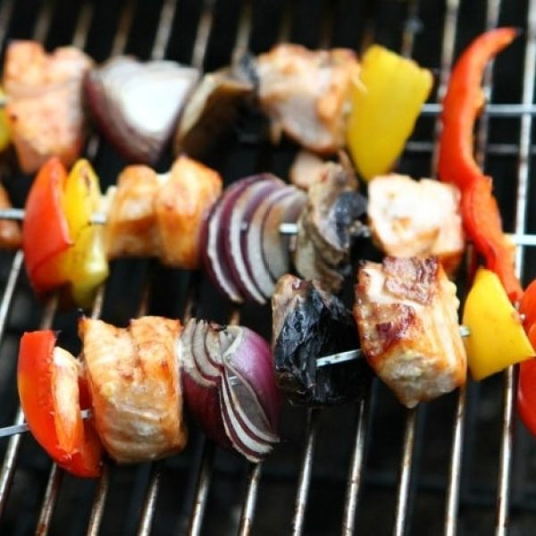 Barbecue Salmon Rainbow Kebabs