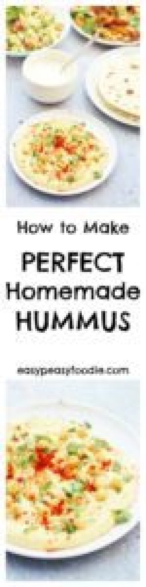 For the longest time, a Perfect Homemade Hummus recipe has eluded me…try as I might, I just haven't been able to get the recipe tasting just right, and it has never been quite smooth enough – but not any longer. I have finally created the recipe for perfect homemade hummus – and it's waaay better than the hummus you get in the shops! #hummus #houmous #chickpeas #tahini #dip #froothie #blender #easyrecipes #easypeasyfoodie #vegetarian #vegan