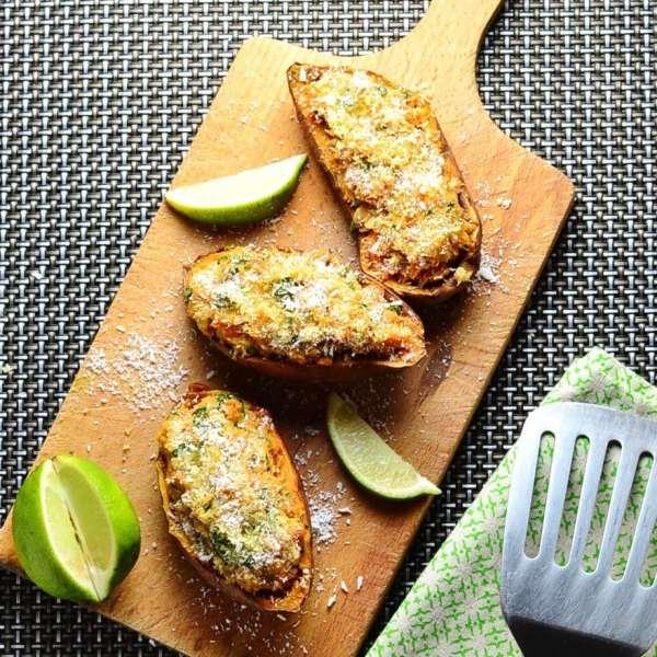 Coconut Fish Sweet Potato Skins
