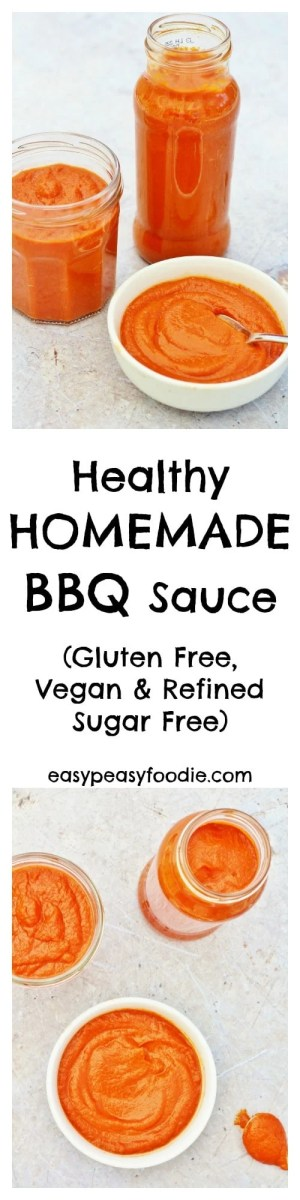 A delicious, healthy alternative to the additive laden commercial versions, this Healthy Homemade BBQ Sauce is super easy to whip up and way more tasty! #glutenfree #vegan #refinedsugarfree #bbq #bbqsauce