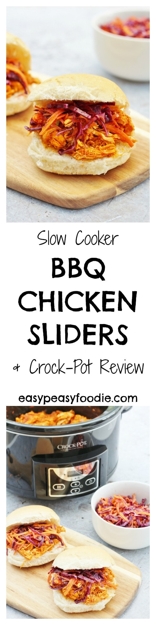 The ultimate, low effort, maximum flavour recipe, these Slow Cooker BBQ Chicken Sliders are ridiculously delicious and oh so easy - with under 5 minutes prep time, let your Crock-Pot take the strain this summer! #SlowCooker #BBQ #Chicken #PulledChicken #Sliders #CrockPot #Review