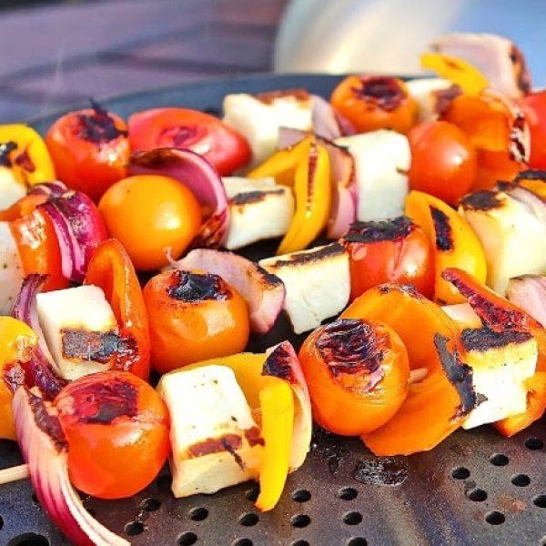 Halloumi & Sweet Summer Veg BBQ Kebabs