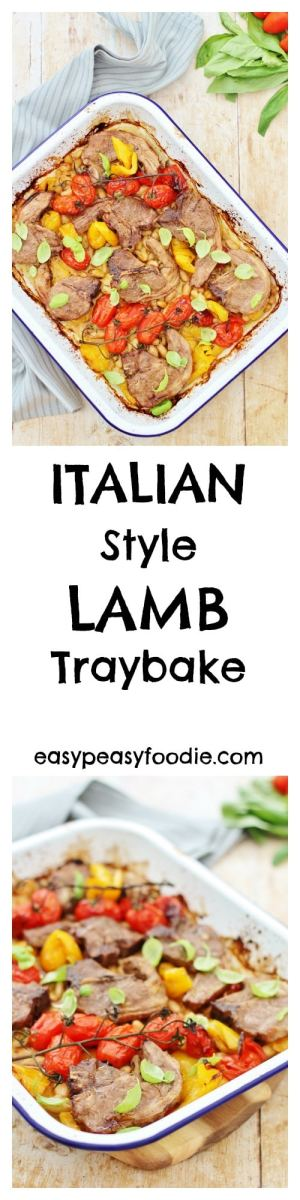Dressed with a simple balsamic and olive oil glaze and scattered with basil, this delicious Italian Style Lamb Traybake is very easy to make and ready in just 45 minutes – perfect for a midweek treat or as a summery alternative to roast lamb. #lamb #italianlamb #lambtraybake #traybake #sheetpan #roastlamb #tomatoes #peppers #basil #easyrecipes #easypeasyfoodie