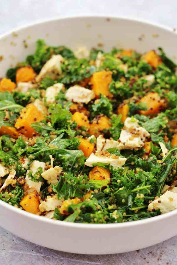 Leftover Chicken, Kale, Quinoa and Pumpkin Salad