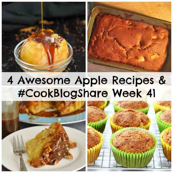 Wondering what to do with a glut of apples? Check out my roundup of 4 Awesome Apple Recipes plus the linky for Week 41 of #CookBlogShare!