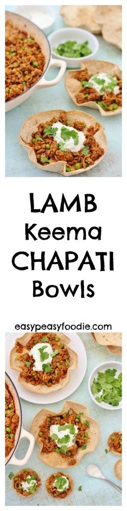 Perfect for party nibbles, a dinner party starter or even a quick midweek meal, these Lamb Keema Chapati Bowls are a great way to inject a little fun into your cooking and celebrate National Curry Week! #lamb #keema #chapati #bowls #mince #raita #starter #paryfood #nationalcurryweek