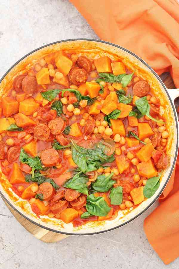 One Pot Chorizo, Chickpea and Sweet Potato Stew