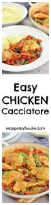 Looking for a totally delicious way to shake up your midweek meal routine? Then you have to try my Easy Chicken Cacciatore! It's an easy peasy version of this comfort food classic, that can be made in under an hour without even switching on your oven. Serve with wodges of creamy mashed potato for the culinary equivalent of a great big hug. #chicken #chickencacciatore #chickenchasseur #hunterschicken #onepot #midweekmeals #easypeasyfoodie