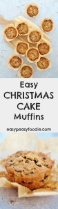 Fancy making homemade Christmas cake but don't have the time? Make my Easy Christmas Cake Muffins instead! These cute mini Christmas cakes have all the flavours of a traditional Christmas cake but take just 45 minutes from start to finish. As a bonus they are gluten free, nut free, alcohol free and can easily be made dairy free too – making them perfect for taking to events or feeding to children.