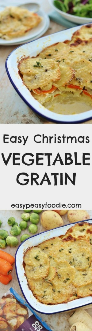Want to save yourself a lot of hassle and effort this Christmas? Then cook my Easy Christmas Vegetable Gratin! All the key Christmas vegetables in one dish. As a bonus this looks much more difficult than it really is…your guests will think you've been slaving all morning in the kitchen, when really this takes just 15 minutes prep and then just a little over an hour in the oven. Plus, if you make it in a pretty dish, you can just serve it on the table just as it is…so less washing up to do on Christmas afternoon – hoorah!! #review #christmas #christmasvegetables #vegetablegratin #gratin #easychristmas #easypeasyfoodie