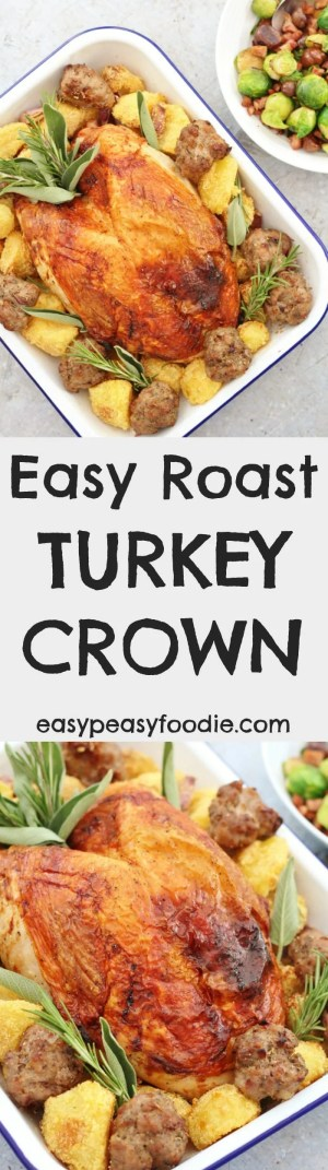 Make your life simple this Christmas and cook my Easy Roast Turkey Crown – all the delicious taste of a whole roast turkey, but less of the stress. Plus lots of tips on buying, defrosting and cooking a turkey crown and delicious ideas for your turkey leftovers! #turkey #turkeycrown #crown #turkeytips #christmas #easychristmas #easypeasyfoodie #dairyfree #glutenfree #freefromchristmas