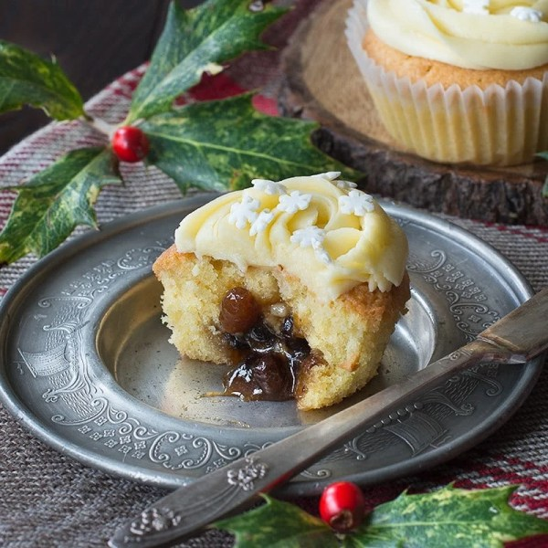 Mince Pie Cupcakes with Brandy Buttercream