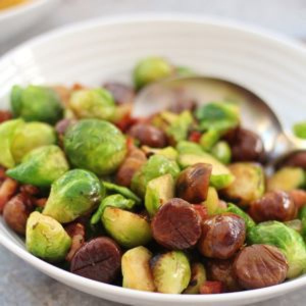 Pan Fried Sprouts with Chestnuts and Bacon