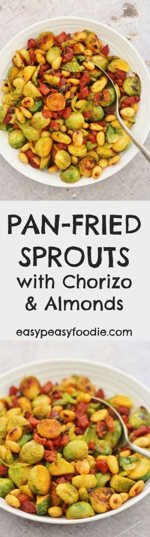 Fancy your Brussels sprouts with a Spanish twist this year? Why not try my Pan Fried Sprouts with Chorizo and Almonds! Gorgeously tasty and utterly easy peasy, this 3 ingredient sprout recipe can be on your table in under 15 minutes…and only use one pan! #brussels #sprouts #chorizo #almonds #easychristmas #christmas #easypeasyfoodie