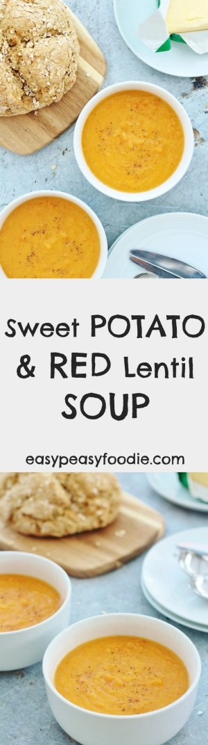 Quick, easy, nutritious and frugal, this Sweet Potato and Red Lentil Soup is just bursting with flavour from the sweet root vegetables, earthy lentils, chillies and spices – perfect for warming you up on a chilly winter's day. It's also vegan, vegetarian, gluten free and dairy free. #sweetpotato #redlentil #soup #lentilsoup #vegan #vegetarian #dairyfree #glutenfree #easyfood #quickfood #easydinners #midweekmeals #easypeasyfoodie
