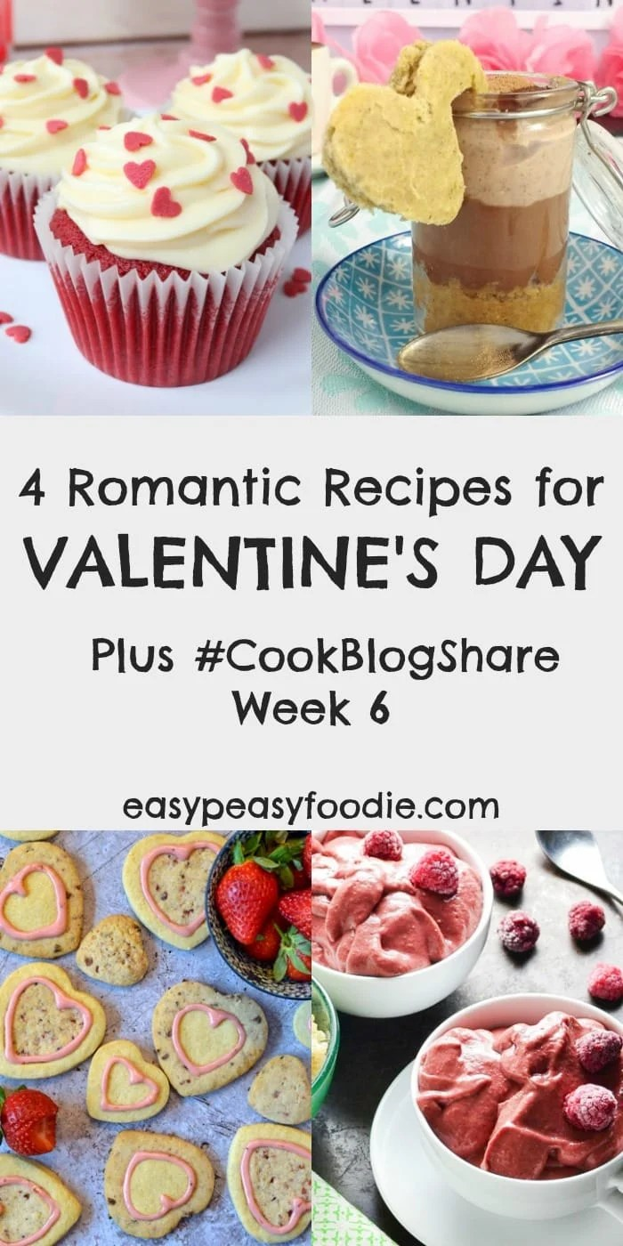 Indulge your loved one with one of these 4 Romantic Recipes for Valentine's Day, plus find the linky for #CookBlogShare Week 6. #valentine #valentines #valentinesday #romantic #romanticrecipes #heartbiscuits #redvelvetcupcakes #valentinessmoothie #vegantiramisu