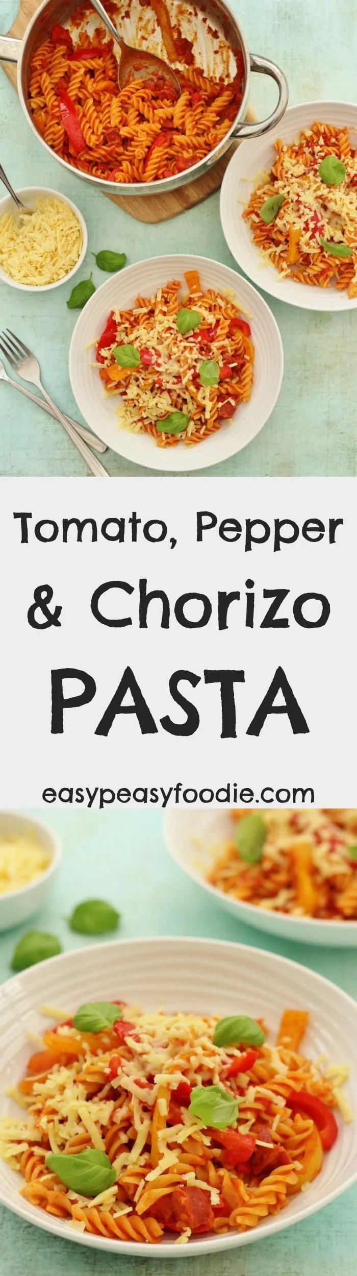 A quick and easy family friendly meal, this Tomato, Pepper and Chorizo Pasta takes just 30 minutes to make and is packed full of flavour…perfect for busy weeknight evenings. #chorizo #pasta #peppers #tomatoes #under30minutes #cheese #cheddarcheese #easydinners #midweekmeals #familydinners #easypeasyfoodie