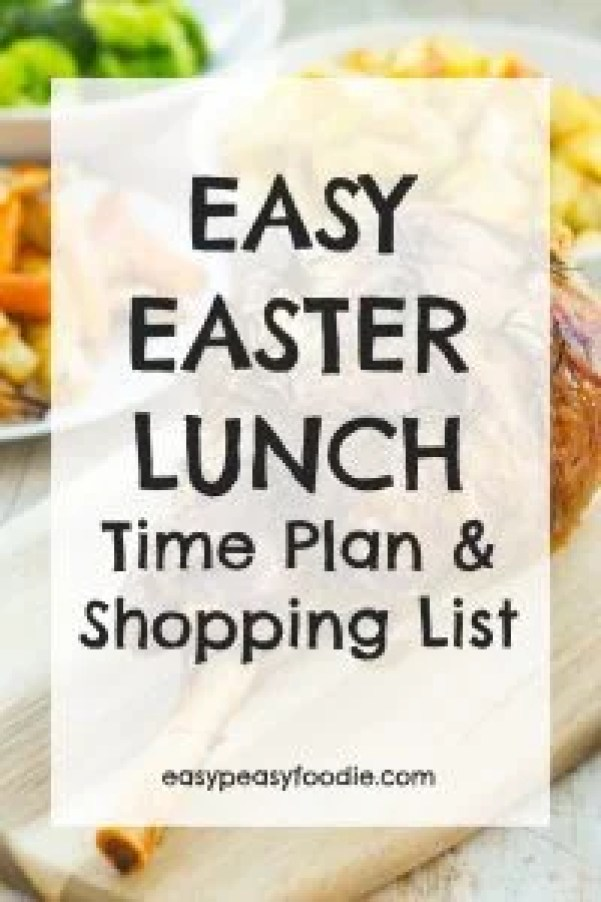 Stressed about Easter lunch? Worry no more! I've put together an Easy Easter Lunch Time Plan and Shopping List. All the deliciousness, none of the stress! #easter #easter2018 #easterlunch #easterlamb #eastercake #timeplan #shoppinglist #eastermenu #easypeasyfoodie