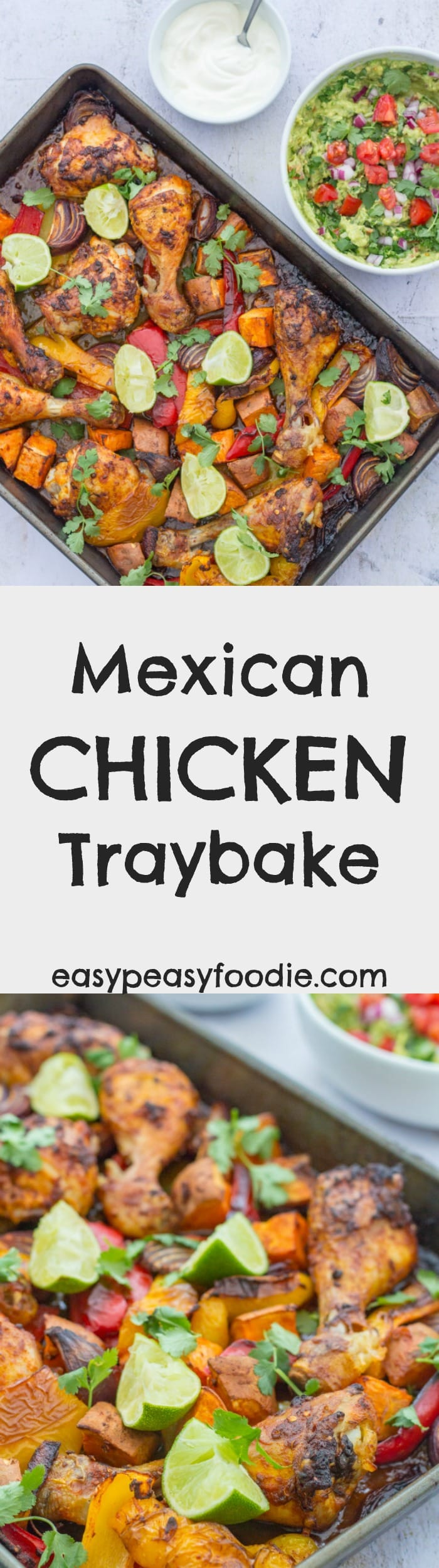 Fabulous crispy skinned roast chicken thighs and legs coated in a delicious Mexican style marinade together with roasted sweet potatoes, peppers and onions, this Mexican Chicken Traybake is so unbelievably simple to make but utterly delicious. Prepared in just 10 minutes and left to do its thing in the oven this easy one pan chicken recipe is ideal for busy evenings! #mexican #chicken #traybake #sweetpotatoes #onepan #sheetpan #easydinners #midweekmeals #easypeasyfoodie
