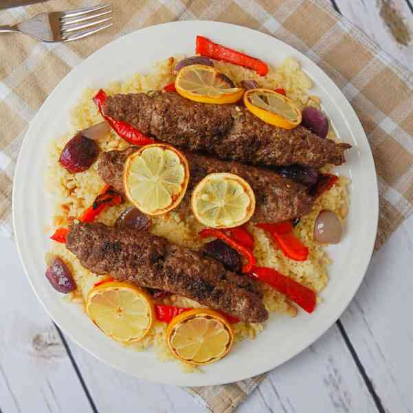 Lamb Shish Kebabs with Grilled Vegetables and Bulgar Wheat