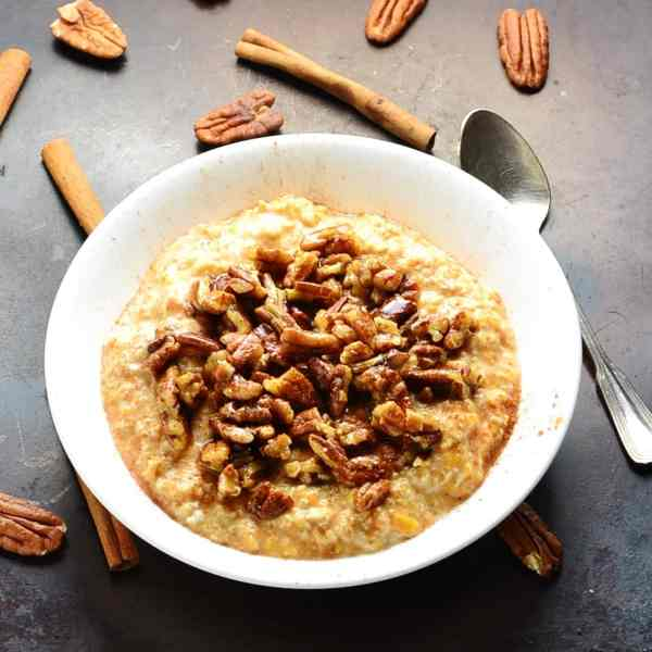 Maple Pecan Overnight Oats with Sweet Potato