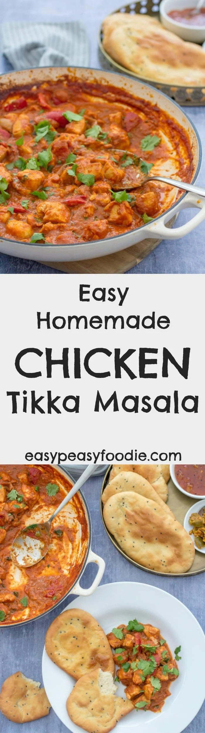 A super quick and simple version of the curry house favourite, my Easy Homemade Chicken Tikka Masala is perfect for busy weeknights when you really want a curry but without the expense of a takeaway (and it's healthier too!) #chicken #tikkamasala #chickentikkamasala #chickntikka #chickencurry #curry #glutenfree #dairyfree #healthydinners #easydinners #midweekmeals #familydinners #easypeasyfoodie #FreeFromGang #CookBlogShare