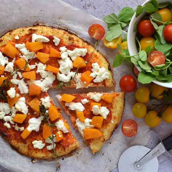Cauliflower Crust Pizza with Squash and Goats Cheese