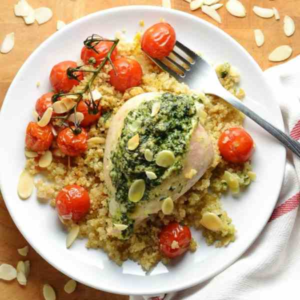 Spinach and Almond Stuffed Chicken Breast with Quinoa and Tomatoes