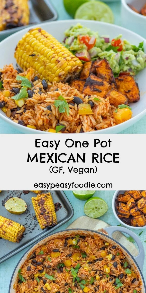 A quick, simple and delicious recipe, this Easy One Pot Mexican Rice with Black Beans and Corn is wonderful as a main course in its own right or as a side dish to all your Mexican favourites. It's gluten free, dairy free and vegan too! Dedicated to #HonestMum #mexicanrice #mexicanfood #vegan #dairyfree #glutenfree #vegetarian #easypeasyfoodie #cookblogshare #freefromgang