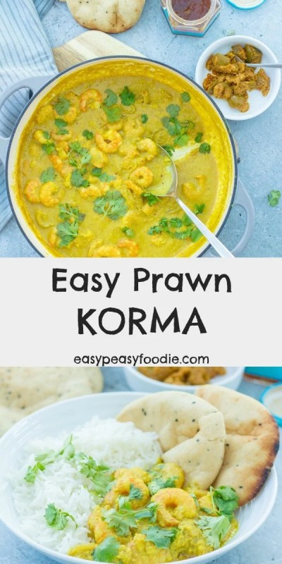 Delicious juicy prawns in a coconut, garlic, chilli and ginger flavoured sauce – you really can't go wrong with this Easy Prawn Korma! And it can be on the table in just 20 minutes, making it perfect for busy weeknights. #curry #prawns #prawncurry #prawnkorma #midweekmeals #easydinners #familydinners #easypeasyfoodie