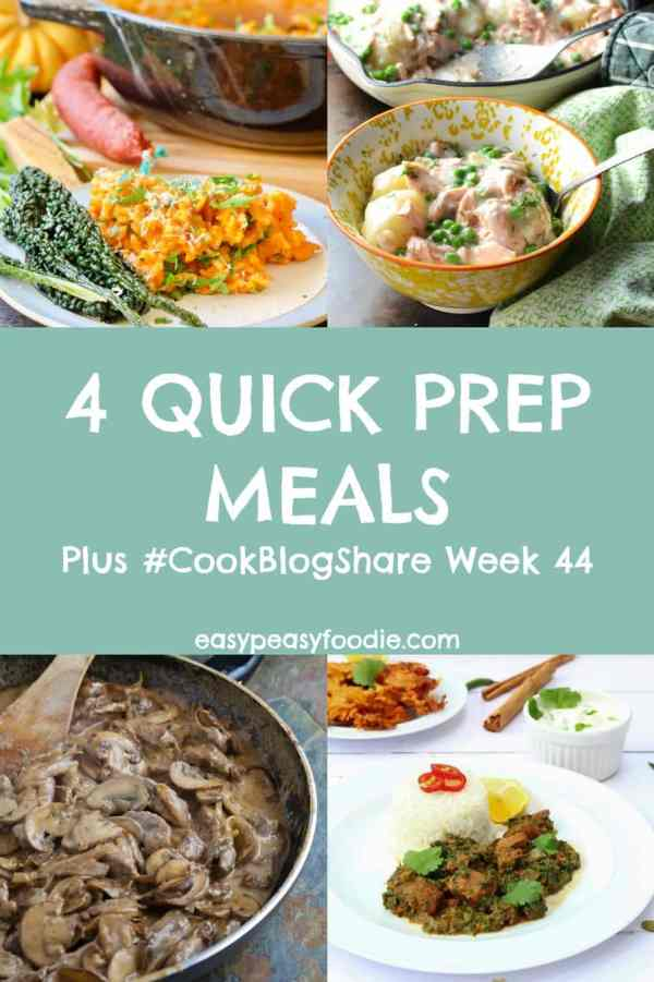 Hectic weeknights call for recipes that are quick to prepare. Here are 4 Quick Prep Meals – each takes less than 12 minutes prep time – plus the linky for #CookBlogShare Week 44. #quickprep #10minsprep #easydinners #dinnertonight #quickdinners #familydinners #midweekmeals #risotto #beefstroganoff #lambsaag #leftoversalmon #cookblogshare #easypeasyfoodie