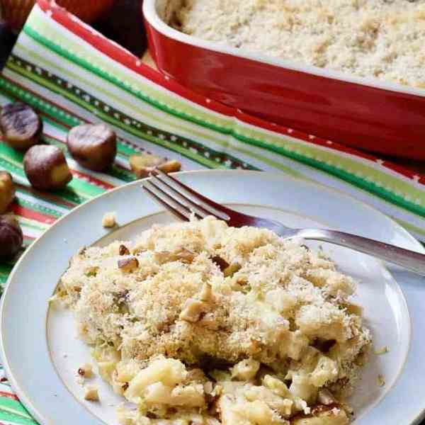 Brussels Sprouts, Bacon & Chestnuts Macaroni Cheese