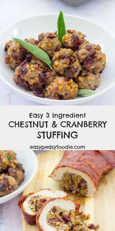 These gorgeous little Chestnut and Cranberry Stuffing Balls are the perfect complement to any roast meat, but especially roast turkey. This stuffing recipe is super versatile and can also be used to stuff roast meats and/or cooked separately in an oven dish. #stuffing #stuffingballs #turkeystuffing #cranberrystuffing #chestnutstuffing #sausagestuffing #thanksgiving #thanksgivingfood #christmas #christmasfood #easystuffingrecipe #easyrecipe #thanksgivingsides #christmassides #easypeasyfoodie