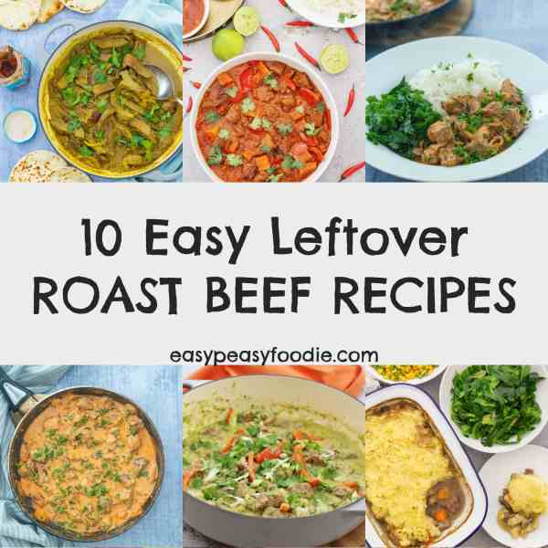 Got some lovely roast beef leftovers and want to turn them into a quick and easy midweek meal? Check out these 10 Easy Leftover Roast Beef Recipes… from beef curry to beef chilli, beef stroganoff to beef korma – there's so many things you can do with leftover roast beef! #roastbeef #beef #leftoverbeefrecipes #beefrecipes #leftoverroastbeef #roastbeefleftovers #roastdinner #sundayroast #sundaylunch #leftovers #midweekmeals #easydinners #familydinners #easypeasyfoodie