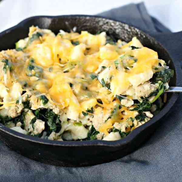 Oven Baked Spaetzle with Turkey and Spinach